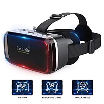 Pansonite 3D VR Glasses Virtual Reality Headset with Bluetooth Remote Controller and Adjustable Lenses for VR Games & 3D Movies, Lightweight and Compatible with iOS & Android Smartphone