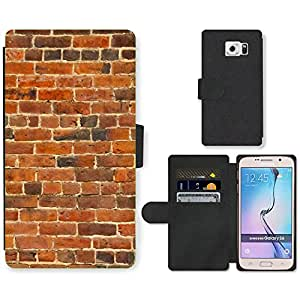 PU Cuir Flip Etui Portefeuille Coque Case Cover véritable Leather Housse Couvrir Couverture Fermeture Magnetique Silicone Support Carte Slots Protection Shell // V00002427 vieja pared de ladrillo // Samsung Galaxy S6 (Not Fits S6 EDGE)