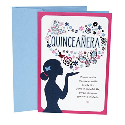 Hallmark Vida Spanish Birthday Greeting Card for Quinceañera (Flower and Butterfly Heart)
