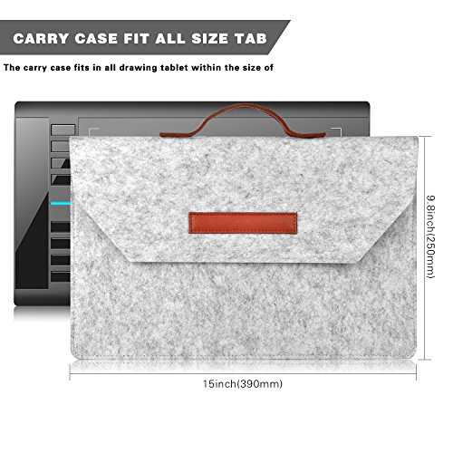 XP-PEN Carry Case for Drawing Tablet, Protective Sleeve for Graphics Tablet  Deco 01, 03, Star 05, 06, UGEE M708, HUION H610 Pro, H950P, 1060Plus, Also