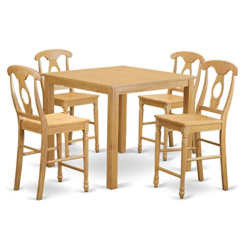 East West Furniture CFKE5-OAK-W 5 Piece High Table and 4 Chairs Set