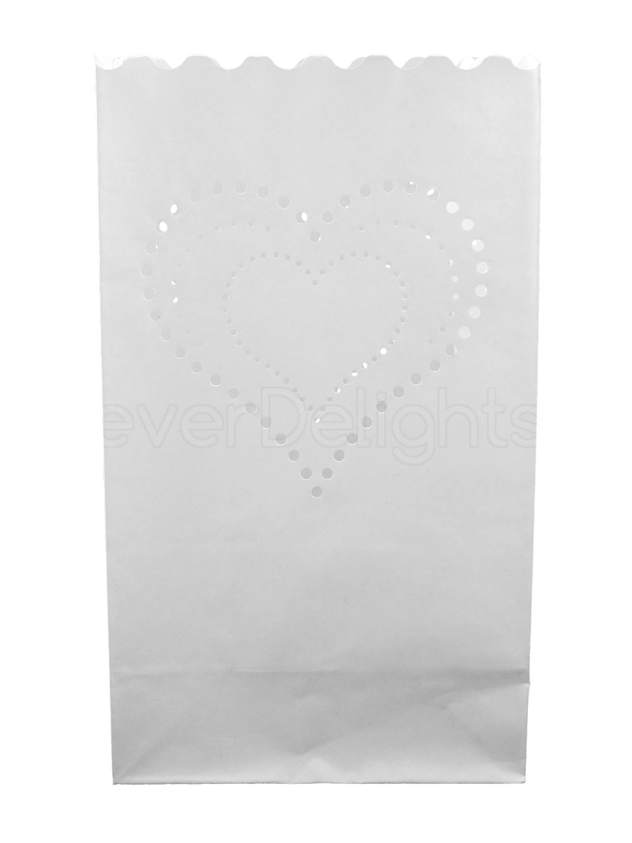 CleverDelights White Luminary Bags - 100 Count - Heart of Hearts Design - Flame Resistant Paper - Wedding, Reception, Party and Event Decor - Luminaria Candle Bag by CleverDelights