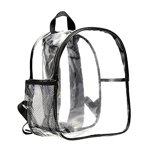 (Stadium Approved Clear Mini Backpack Heavy Duty Transparent Backpack for Concert, Security Travel &Stadium)