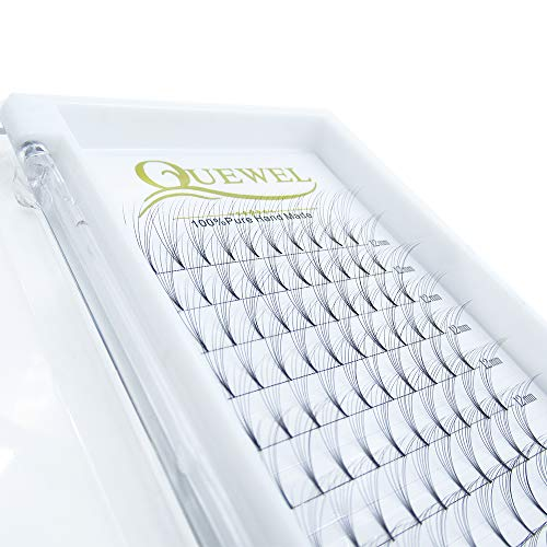 Russian Volume Premade Fans Eyelashes Extension 5D 6D Thickness 0.07/0.10 Curl C/D Length 8-15mm by Quewel (6D-0.07-C, 12mm)