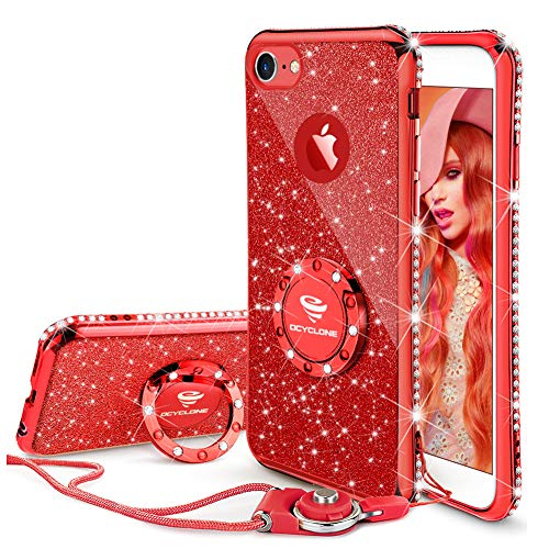 OCYCLONE iPhone 6s Case, iPhone 6 Case for Girl Women, Glitter Cute Girly Diamond Rhinestone Bumper with Ring Kickstand Protective Phone Case for iPhone 6s / iPhone 6 - Red