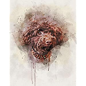 Poodle Dog Watercolor Art Print in Various Sizes - Brown Miniature Poodle Wall Decor for a Nursery, Home, or Office - A Perfect Gift for a Poodle Lover, Pet Remembrance or Pet Memorial 1