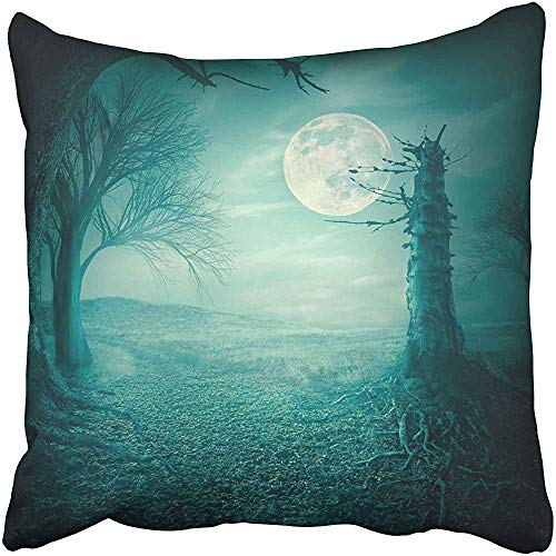 Blue Field Mystical Autumn Forest with Dead Trees and Roots at Moody Full Moon Night Halloween Scary Teal Throw Pillow Covers 18x18 inch Decorative Cover Pillowcase Cases Case Two Side