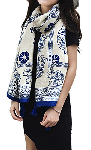 Women's Boho Bohemian Soft Blanket Oversized Fringed Scarf Wraps Shawl Sheer Gift (Lucky Elephant)