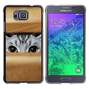 TECHCASE**Cubierta de la caja de protección la piel dura para el ** Samsung GALAXY ALPHA G850 ** Cat Peeking Grey Green Eyes Hunting Play