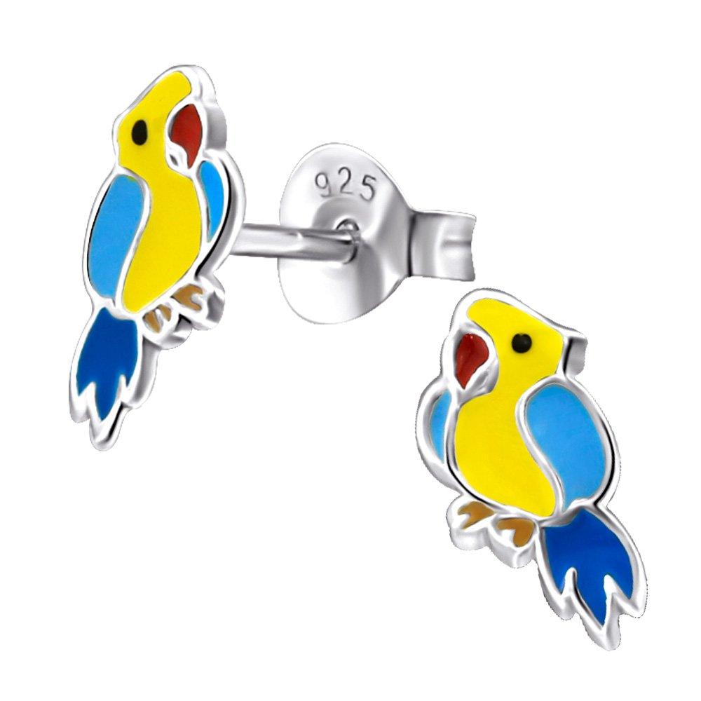 Laimons Kids Bijou pour enfant boucles d'oreilles pour enfant perroquet oiseau jaune, bleu argent sterling 925 OS967