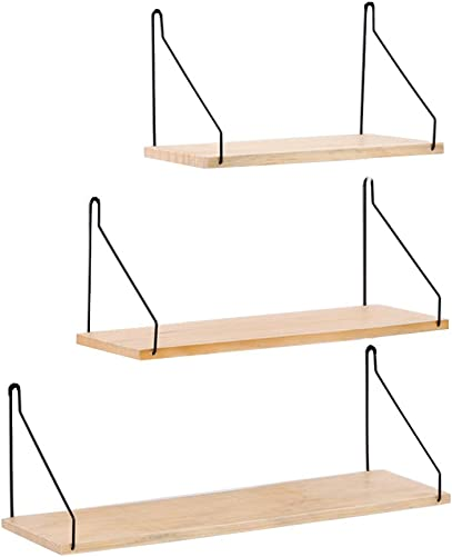Floating Shelves Wall Mounted Set of 3, Wall Mounted Rustic Metal Wire Storage Shelves Decorative Wall Shelf Display Rack Collecting Holder Wall Hanging for Living Room, Bedroom, Bathroom Wood Color