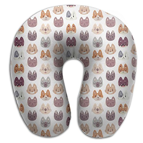 Nicokee Multifunctional Neck Pillow Animal Head Pattern U-Shaped Soft Pillows Portable for Sleeping Travel by Nicokee