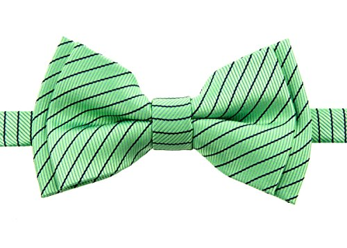 Retreez Stylish Pin Stripes Woven Microfiber Pre-tied Boy's Bow Tie - Mint Green with Black - 4 - 7 years