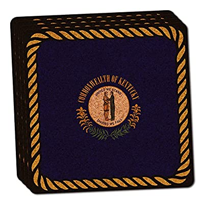 Kentucky State Flag Thin Cork Coaster Set of 4