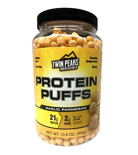 Twin Peaks Ingredients Protein Puffs - Garlic Parmesan 300g (10 Servings), 21g Protein, 2g Carbs, 130 Cals, High Protein, Low Carb, Soy Free, Gluten Free, Potato Free - BEST PROTEIN SNACK