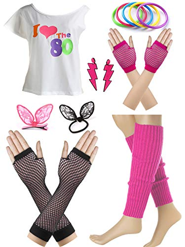 I Love The 80s Fans Disco Costume Accessories Set