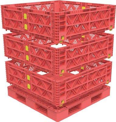 トラスコ中山 マルチステージコンテナ メッシュ 3段 1100X1100 赤 (1S) TMSC-M1111-R B01E4S0M9M