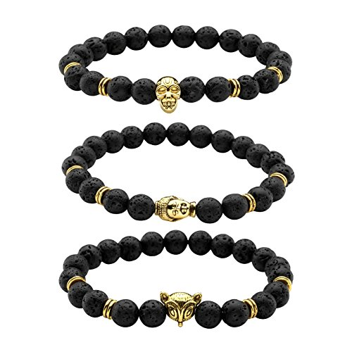 Milakoo 3Pcs Mens 8MM Black Lava Rock Stone Bead Skull/Fox Head/Buddha Head Healing Energy Bracelet
