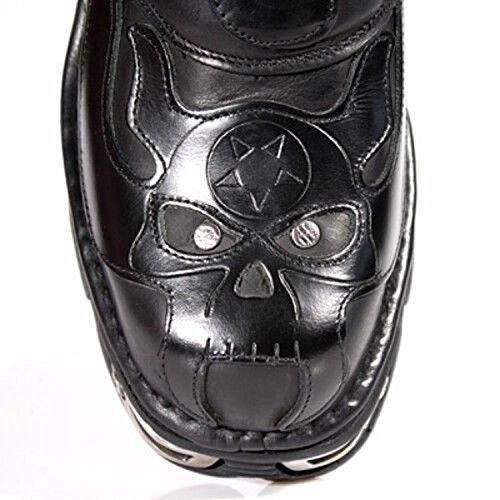 Noir Newrock Bottes S3 Rock Crâne 107 Cuir Motard Nouveau Rock En Goth Noir Diable vxqHRP5w