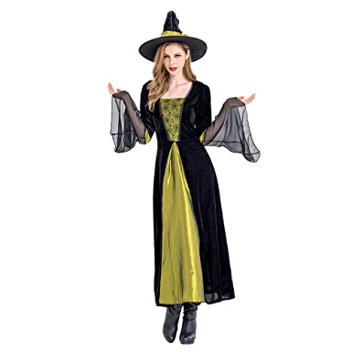 e338cf218c0332 Zhhyltt Damen Zauberin Kostüm Verkleidung für Karneval - Fasching Halloween  Parties Kostüm Adult's Womens Witch Cosplay