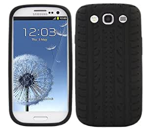 iTALKonline BLACK TYRE GRIP Soft SILICONE Case Cover Pouch Skin for Samsung i9300 Galaxy S3 III