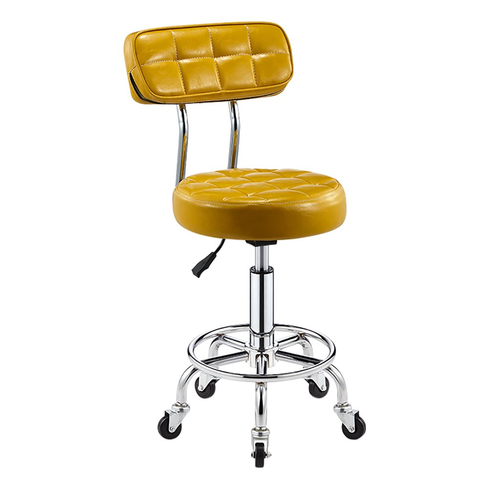 - Faux Leather Kitchen Breakfast Bar Chair with Backrest,Extra Thick 10cm Padding Height Adjustable 5 Castors,Work Stool, Beauty Roller Stools Swivel Chair (Color : Yellow, Size : 44-56cm)