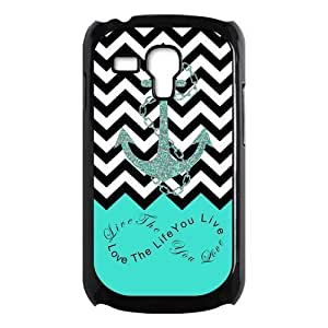 Live The Life You Love,Love The Life You Live.Black Chevron & Anchor Infinity Symbol Personalized Custom Best Plastic Case for Samsung Galaxy s3 MINI ,Black or White for Choice