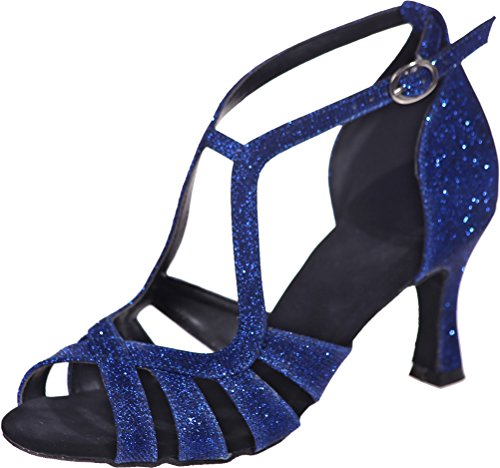 Straps Tango Comfort Beginner Cha Womens Find Cha Nice Peep Sudue Ballroom Dance Ankle 3IN Toe Swing Latin Glitter Wedding Blue PU Party Shoes Sole Practice wx0tHt