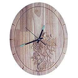 PQPQPQ Creative Arts personality mute oval wall clock solid wood living room modern electronic watches,16 inch
