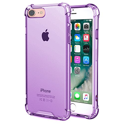 iPhone 8 / iPhone 7 Transparent Case with Reinforced Corners, [Anti-Discoloration] [No-Slip Grip] - Purple Transparent