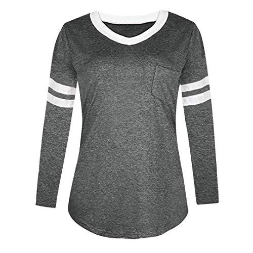 A T Donna Donne Tiefgrau Maniche Con Sciolta Scollo Xxxxx Estiva large Le shirt Taglia Per Lunga Risvolto Manica V Lunghe Da Camicia colore AfIwfq