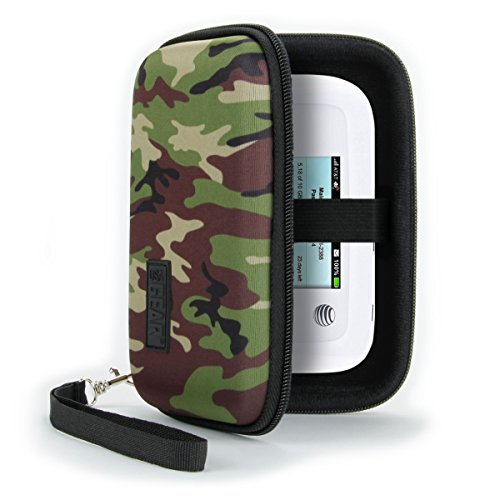 USA Gear WiFi Hotspot Portable Mobile Carrying Case with Detachable Wrist Strap - Compatible w/ 4G Wi-Fi Hotspots from AT&T, Verizon, Sprint, T-Mobile, GlocalMe, Netgear & More - Camo Green