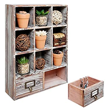 Rustic Dark Brown Wood Shadow Box / Wall Mounted 9 Cubby Storage Rack with 2 Drawers & Label Holders