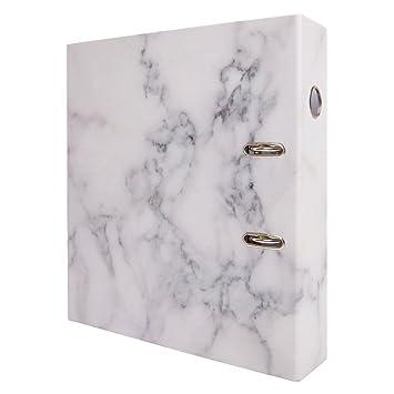 Archivador con ganchos metálicos, color blanco (Marble): Amazon.es: Oficina y papelería