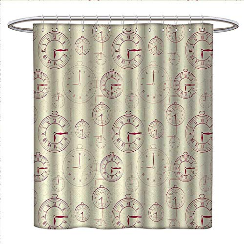 Clock Sydney Square (Clock Shower Curtains Digital Printing Vintage Watches with Roman Digits Antique Machine Time Pattern Illustration Bathroom Accessories W48 x L84 Pale Yellow Magenta)