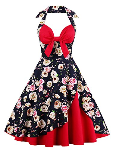 Kilolone Women Halter Rockabilly 1950s Vintage Retro Floral Print Pin Up Swing Cocktail Party Prom (Washington Halloween Block Party)