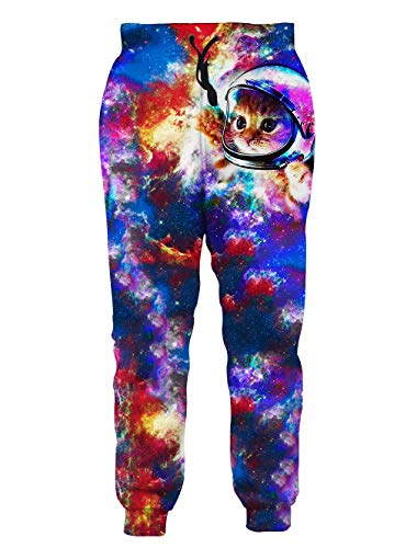 Loveternal Cute Space Cat Joggers 80s 3D Lounging Pants for Men Women Big and Tall Sports Sweatpants Galaxy Outer Space Baggy Sweatpants for Women S]()