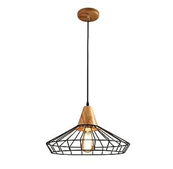 Lámpara de techo jaula de rejilla de madera de hierro forjado E27 ...