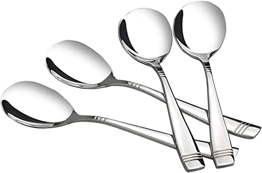 9.75 Inches Set of 6 Ggbin Stainless Steel Dinner Buffet Serving Spoons