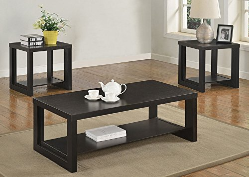 (Audra 3-Pc Black Wood Coffee Table Set by Crown Mark)