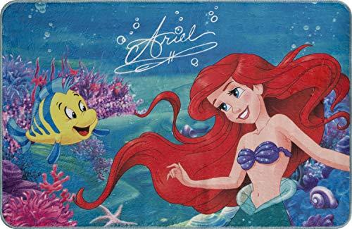 Tapete Raschel Sublimado Disney Pequena Sereia 70 X 100 Cm Jolitex Azul 70x100cm