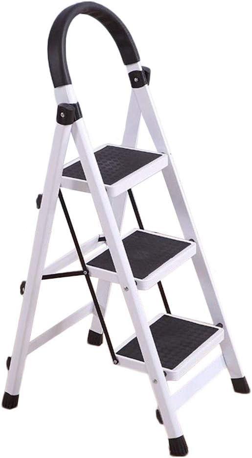 Escalera Plegable con 3 Paso Robusta Amplia Anti Slip Pedal y del asidero, Taburete Escalera for la Cocina casera Loft al Aire Libre, 330 Libras de Capacidad: Amazon.es: Hogar