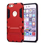 iPhone 6 Plus Case,iPhone 6s Plus case,Ebakx [Ironman Kickstand] Heavy Duty Hybrid Dual Layer Armor Defender Full Body Protective Case Cover for Apple iPhone 6s/iPhone 6 Plus case, (Silver) (Red)