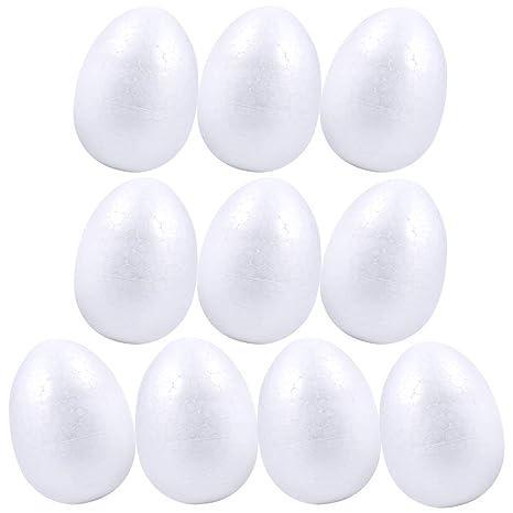 Pllieay Lot De 10 œufs De Pâques En Mousse De Polystyrène Blanc 8 Cm
