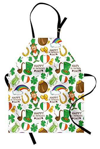 Ambesonne St. Patrick's Day Apron, Irish Party Pattern Beer Leprechaun Flag Hearts Rainbow Gold and Shamrock, Unisex Kitchen Bib Apron with Adjustable Neck for Cooking Baking Gardening, Multicolor