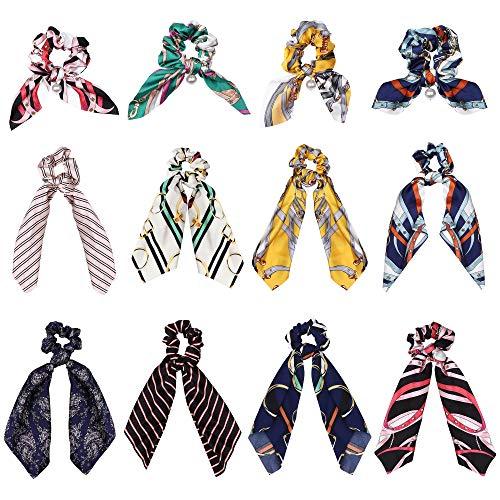 Womens Ponytail Holder - LOYALLOOK 12Pcs Bowknot Silk Satin Hair Scrunchies Elastics Satin Hair Ties Scarf Pearl Silk Hair Bobbles for Ponytail Holder Hair Accessories for Women Girl