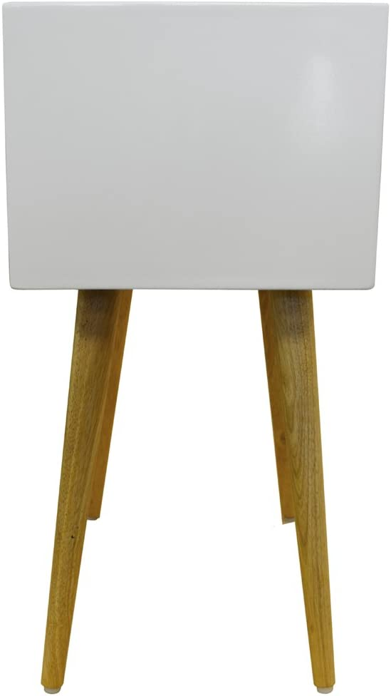 High Gloss and Solid Wood Side Table//Bedside Table with 2 Drawers UNION White//Pine