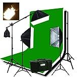 ePhotoInc Photography Studio Video Lighting Chromakey Screen 3 Muslin Backdrops 3200K Warm Lighting Kit Background Support Kit-Green/Black/White H9004SB-69BWG 3200K