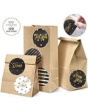 Orlegol Braune Papiertüten Tütchen 100 Kleine Papier-Beutel Kraftpapiertüten, 9 x 18 x 5.5cm DIY Mini Verpackungstüten mit Sticker für Geschenktüten Ostertüten Brot Belegte Brote Verpacken Keks Tüten
