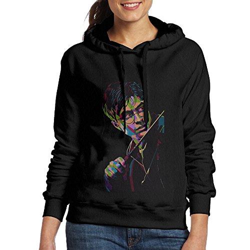 [Harry Potter Poster Women Pullover Hooded Hoodie Sweatshirt Black] (Hermione Granger Costume Casual)